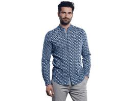 Sommerliches Langarm-Hemd mit floraler Musterung und kleinem